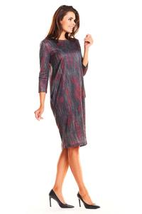 Red Simple Romby Dress with Pattern with Sleeves ¾