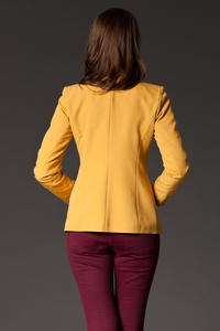 Puffed Shoulder Collarless Seam Yellow Blazer
