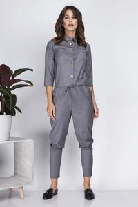 Grey Casual Jumpsuit with Shirts Style Top