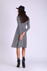 Black and White Flared Envelope Dress with Long Sleeves