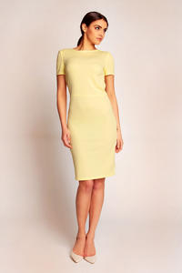 Yellow Shift Seam Dress with Cowl Neck Back
