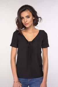 Black Blouse with a tie at the V-neck