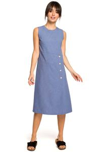 Blue Trapezoidal Sleeveless Dress with Buttons