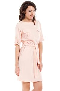 Powder Pink Casual Rolled-up Sleeves Mini Dress