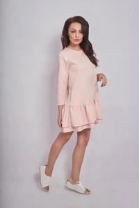 Pink Girlish Romantic Style Dress with Frills&Pockets