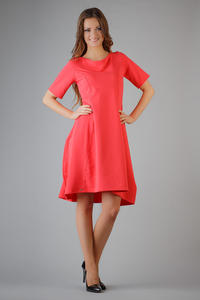 Colar High Fad Dress with Dipped Hem