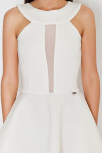 White Flared Evening Transparent Front Panel Dress