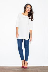 Ecru Simple Office Style Long Blouse-Tunic