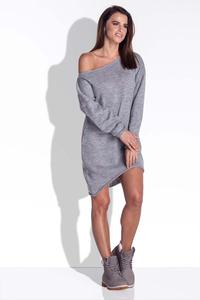 Grey Knitted Dress with Asymetrical Neckline