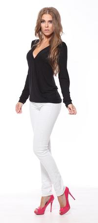 Black Deep V-Neck Long Sleeved Top