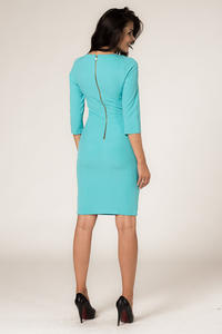 Turquoise Seam Shift Dress with Back Zip Fastening