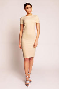 Beige Shift Seam Dress with Cowl Neck Back