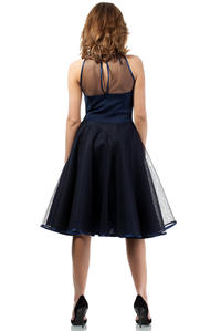 Dark Blue Cheeky Mesh Skater Party Dress