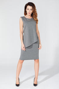 Grey Asymmetrical Sleeveless Blouse