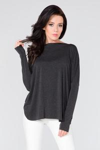 Black Loose Deep Back Cut-ot Blouse