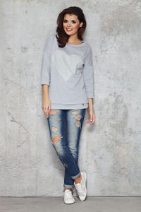 Grey Flecked Sweatshirt with Shadowy Heart Front and 3/4 Sleeves
