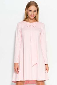 Pink Flared Mini Dress with a Bow