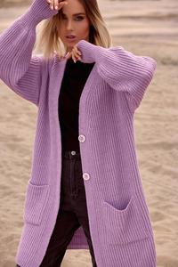 Long Cardigan with Pockets (Lavender)