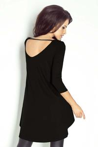 Black Dipped Hem Open Back Tunic
