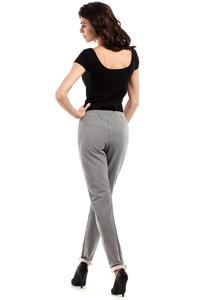 Grey Slim Legs Pants with Zippers
