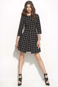 Black-checkered Quilted Culottes' Style Skirt Dress