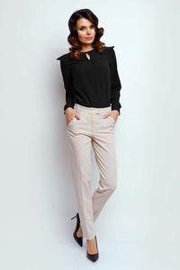 Beige Classic Fabric Trousers in Kant