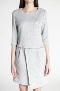 Grey Round Neck 3/4 Sleeves Dress with a Zip