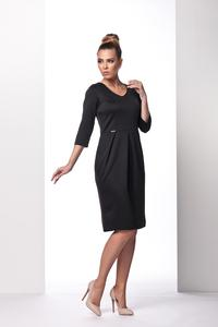 Black Knee Length 3/4 Sleeves Dress
