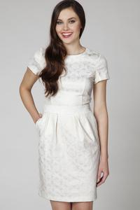Cream Jaquard Short Sleeves Coctail Dress