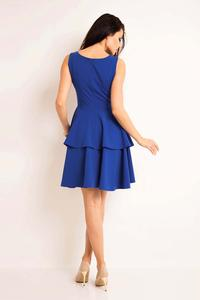 Blue Flared Dress with Frills