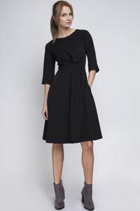 Black Slim Waist 3/4 Sleeves Smart Dress