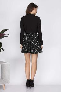 Black Flared Plaid Pattern Mini Skirt