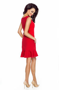 Red Classic Sleeveless Frilled Dress