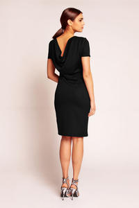 Black Shift Seam Dress with Cowl Neck Back