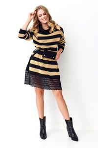 Camel Long Striped Sweater with Lace