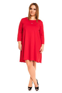 Red 3/4 Sleeves Swing Dress PLUS SIZE