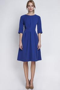 Blue Slim Waist 3/4 Sleeves Smart Dress