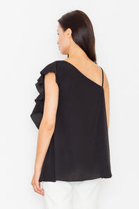 Black Asymetrical One Shoulders Strap Dress with a Frill