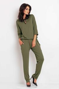 Olive Green Lace Back Long Jumpsuit