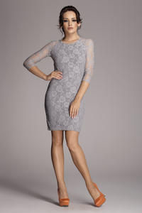 Grey Backless Floral Lace Shift Dress