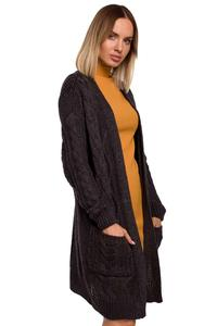 Long Sweater with Pockets  Hoodless (Dark Gray)