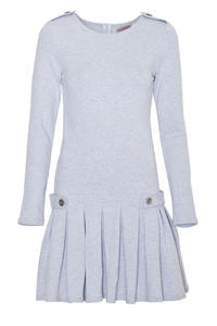 Grey Casual Long Sleeves Pleated Mini Dress