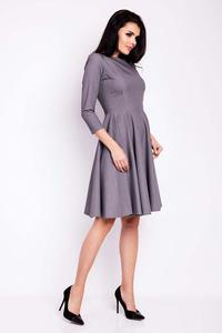 Grey Flared Knee Length Wrinkled Dress