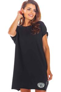 Black Loose Summer Dress with a V-neck on the back