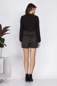 Black Suede High Waist Shorts