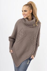 Cappuccino Loose Asymetrical Tourtleneck Sweater
