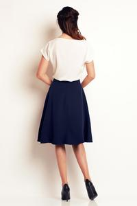 Dark Blue Side Pockets Flared Midi Skirt