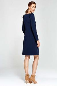 Dark Blue Flared Dress with Frills on The Shoulders