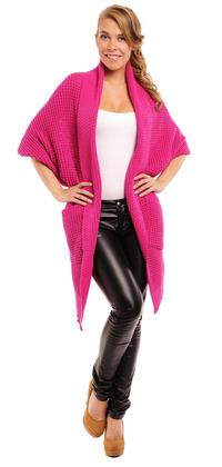 Fuchsia Oversized Cardigan with Pockets