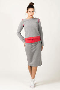 Light Grey and Coral Fitted Sport Style Skirt